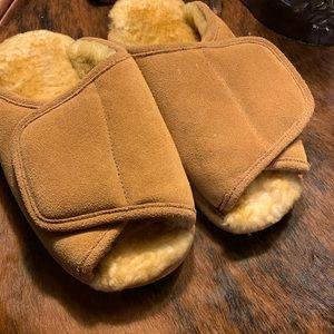 Men's LAMO Leather Sheepskin Open Toe Slippers